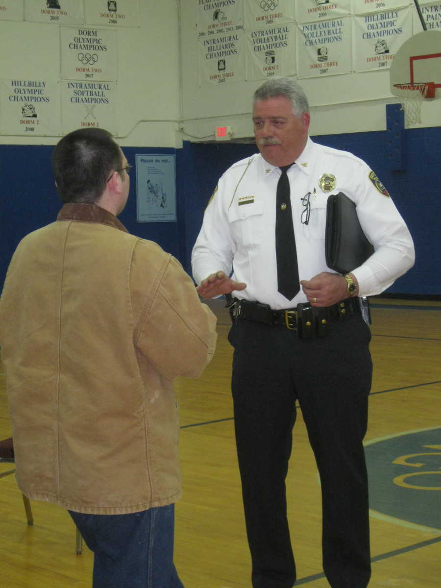 photo gallery job shadow day at mingo job corps dexter daily dexter police chief sammy stone discussing some specific student questions after his remarks at mingo job corps groundhog job shadow day event