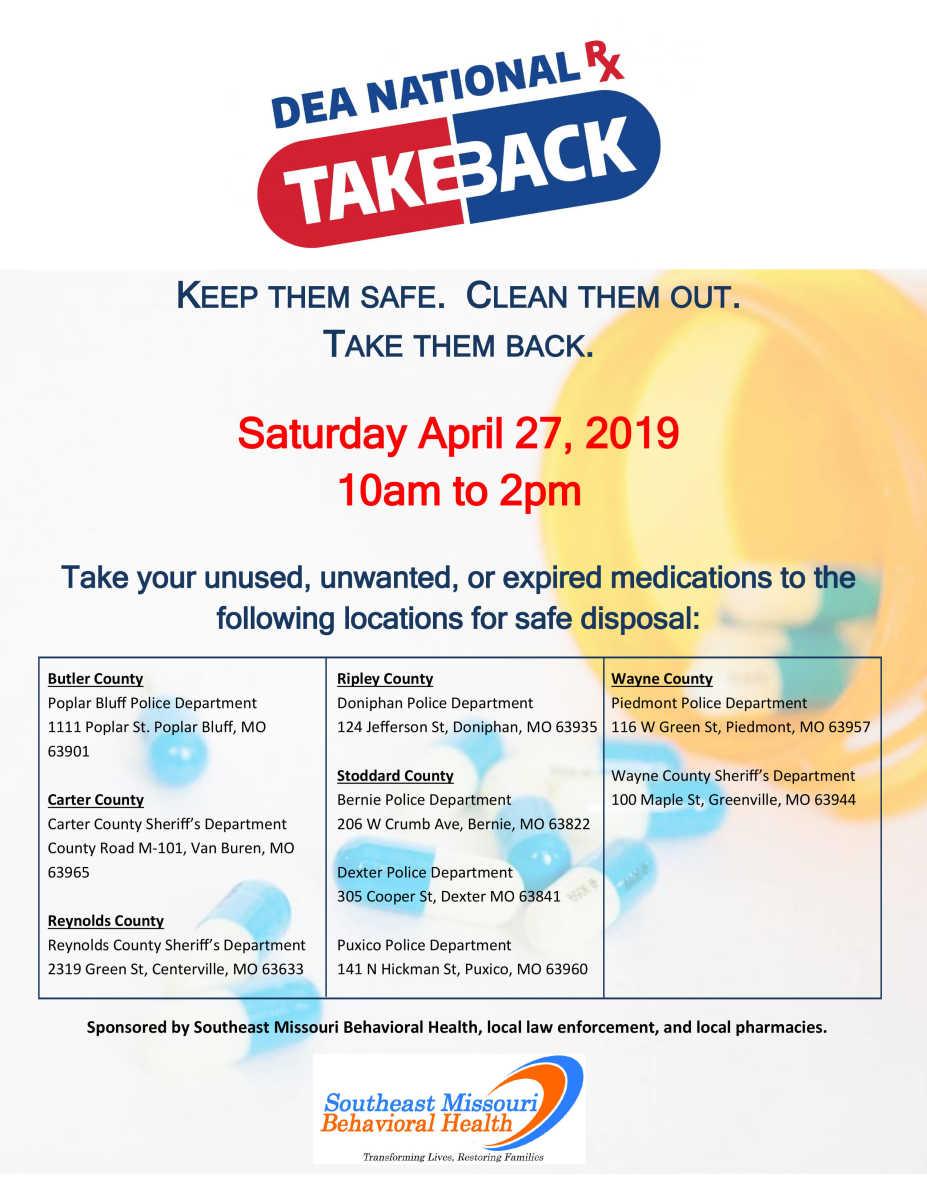 Local News: Drug take back slated for April 27 (4/18/19)   Dexter